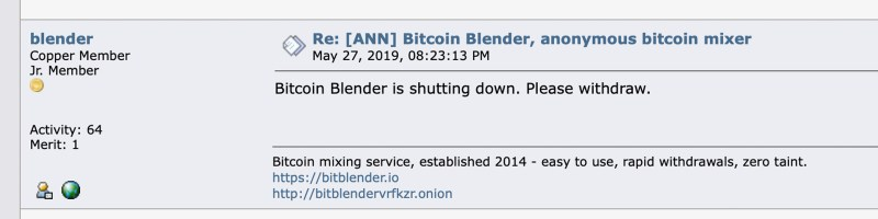 Mixing Service Bitcoin Blender Quits After Bestmixer Takedown