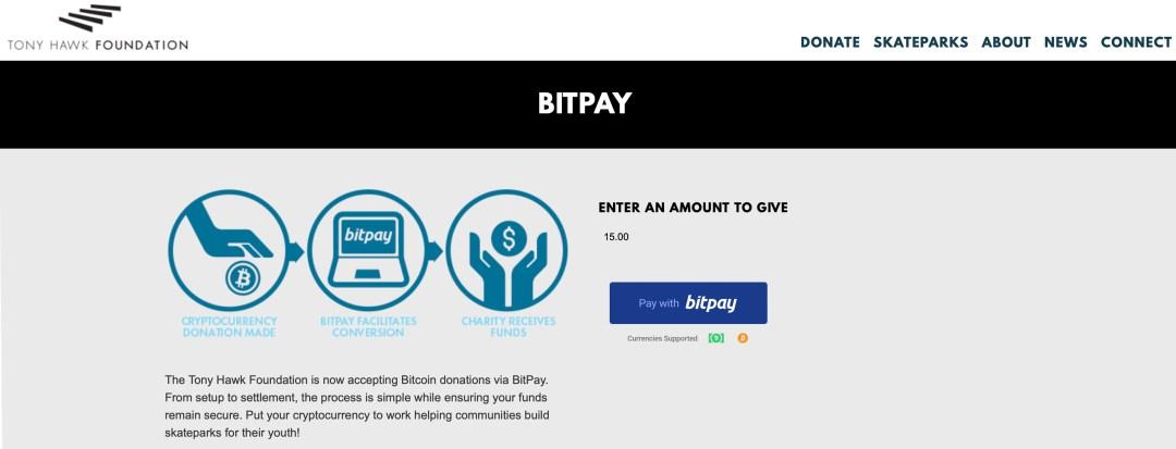 Fondation Tony Hawk ajoutée à la 100 Crypto de Bitpay prenant en charge les organisations à but non lucratif
