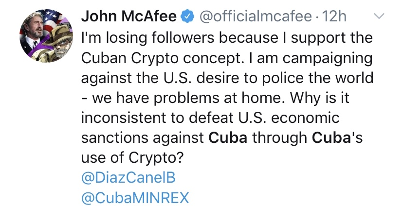 A History of Violent Intervention: John McAfee to Help Cuba Resist US Sanctions With Crypto