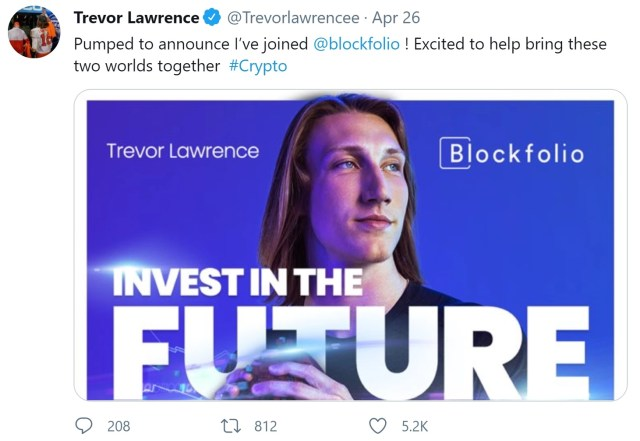 NFL No. 1 draft pick Trevor Lawrence invested his signing bonus in cryptocurrency, estimated to be worth $24 million