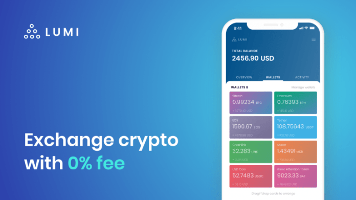 Exchange crypto with 0% Fees in Lumi Wallet