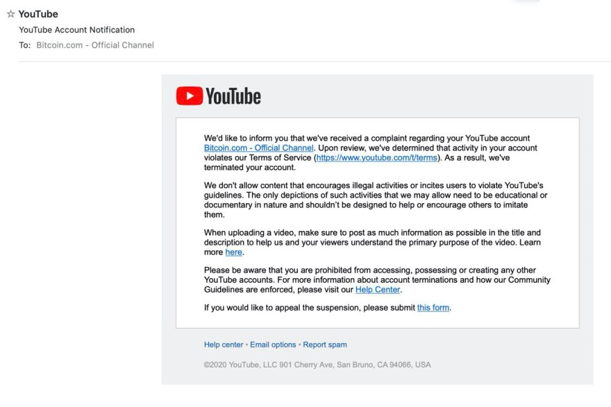 Youtube Reinstates Bitcoin.com's Official Channel After Suspension
