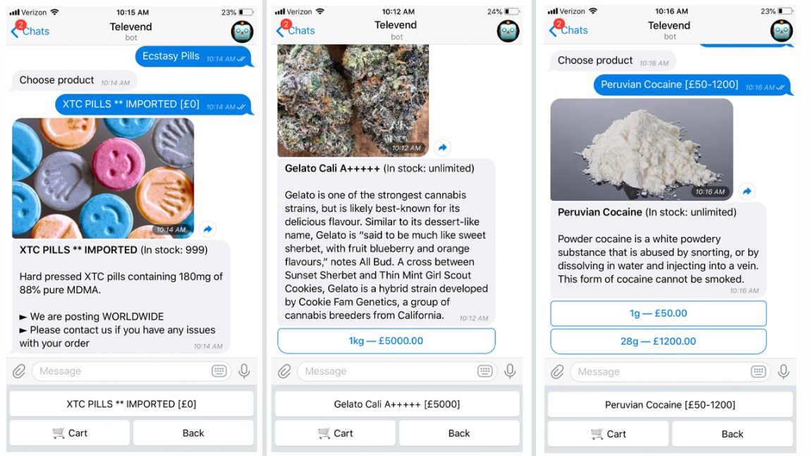 A System of Robot Drug Dealers on Telegram Allows People to Buy Illegal Products for Bitcoin
