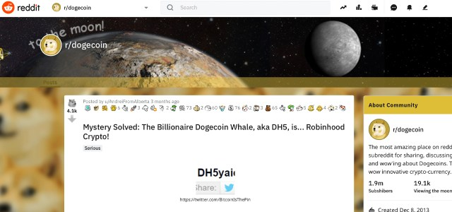 Who owns the mysterious Dogecoin whale address?Robin Hood's CEO refutes speculation