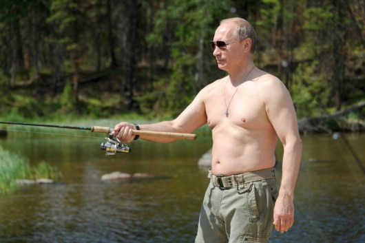 Russia's President Vladimir Putin fishes in Tyva Republic in the Siberian Federal District