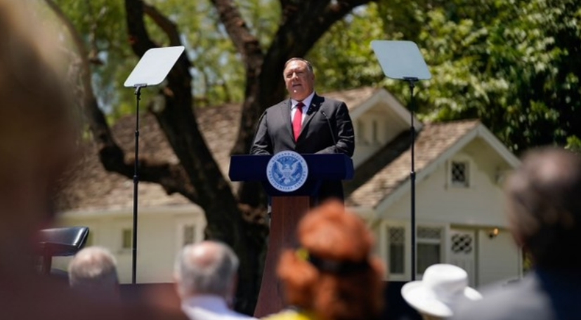 On July 2020, 7, US Secretary of State Pompeo delivered a speech to China at the Richard Nixon Presidential Library in California. (Associated Press)