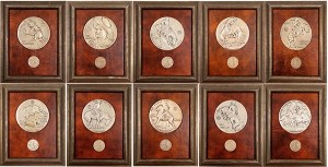 Framed six-inch medallions for the 21 Club Restaurant in New York City