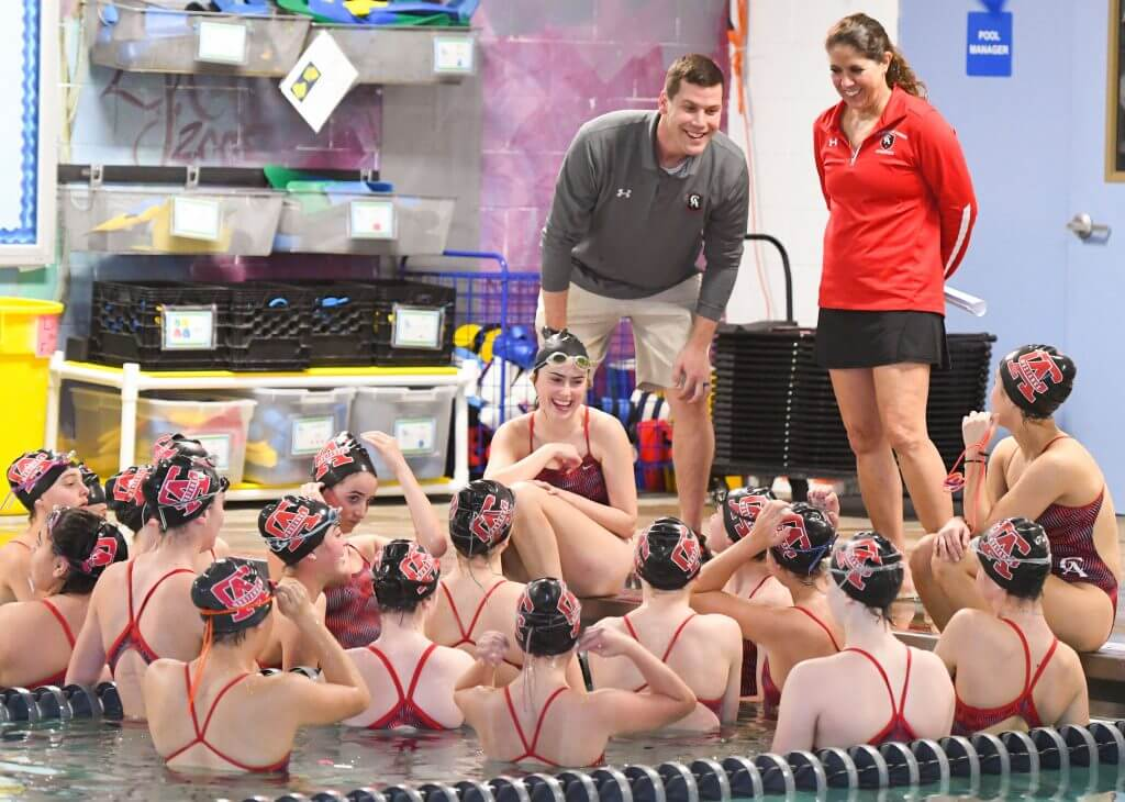Coaches Paul Augustus and Beckie Mutz with the CA Girls Swim Team