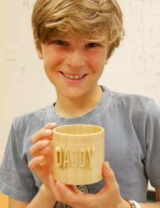 Philip Foreman with his cup turned pencil holder