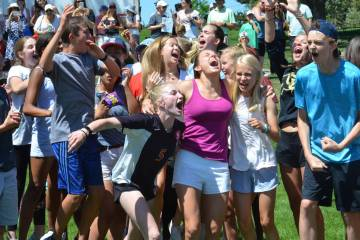 Eighth grade class celebrates their win on Giant Relay Race day.