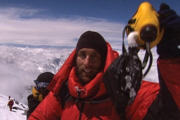 Erik Weihenmayer at the summit of Mt. Everest
