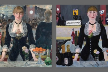 "Manet's ""A Bar at the Folies-Bergère"" painted with a new twist by Ellie Bain."