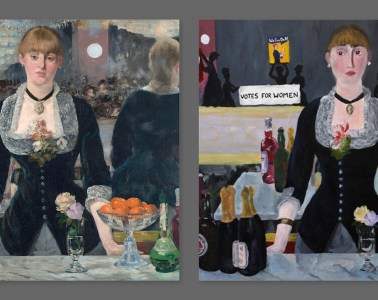 """Manet's """"A Bar at the Folies-Bergère"""" painted with a new twist by Ellie Bain."""