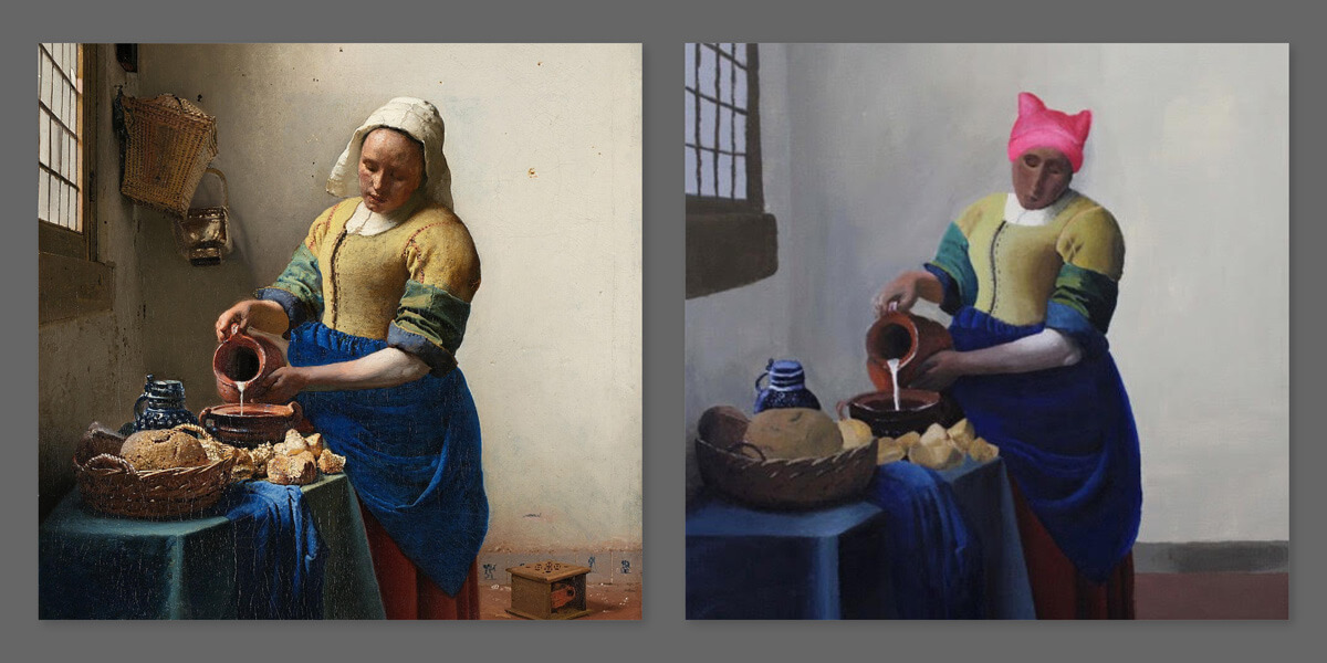 "In Vermeer's ""The Milkmaid,"" Bain replaced the maid's white linen cap with a headpiece made famous by the 2017 Women's March."