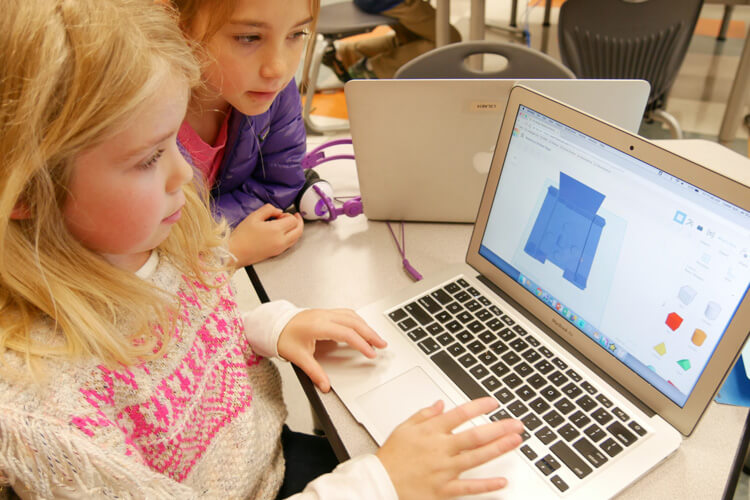 Lower School students using computer-aided design