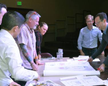 CA theater teachers discuss plans for the new Leach Center for Performing Arts with the architects Shears Adkins Rockmore.