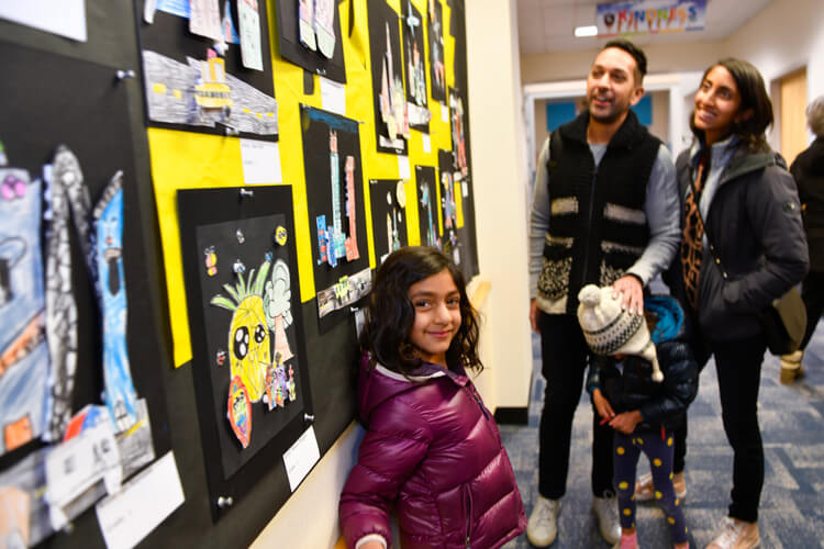 Nilaya Majmudar and her family enjoyed art displayed in the Lower School.