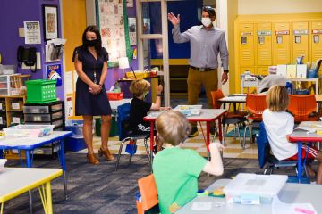 Dr. Mike Davis visits Jessi McCoy's Second Grade classroom on the first day of in-person classes.