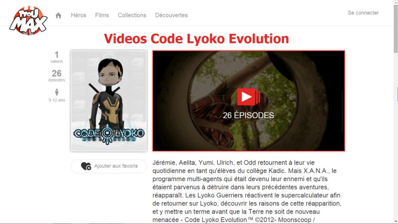 Capture de la page Code Lyoko Evolution sur TFou Max