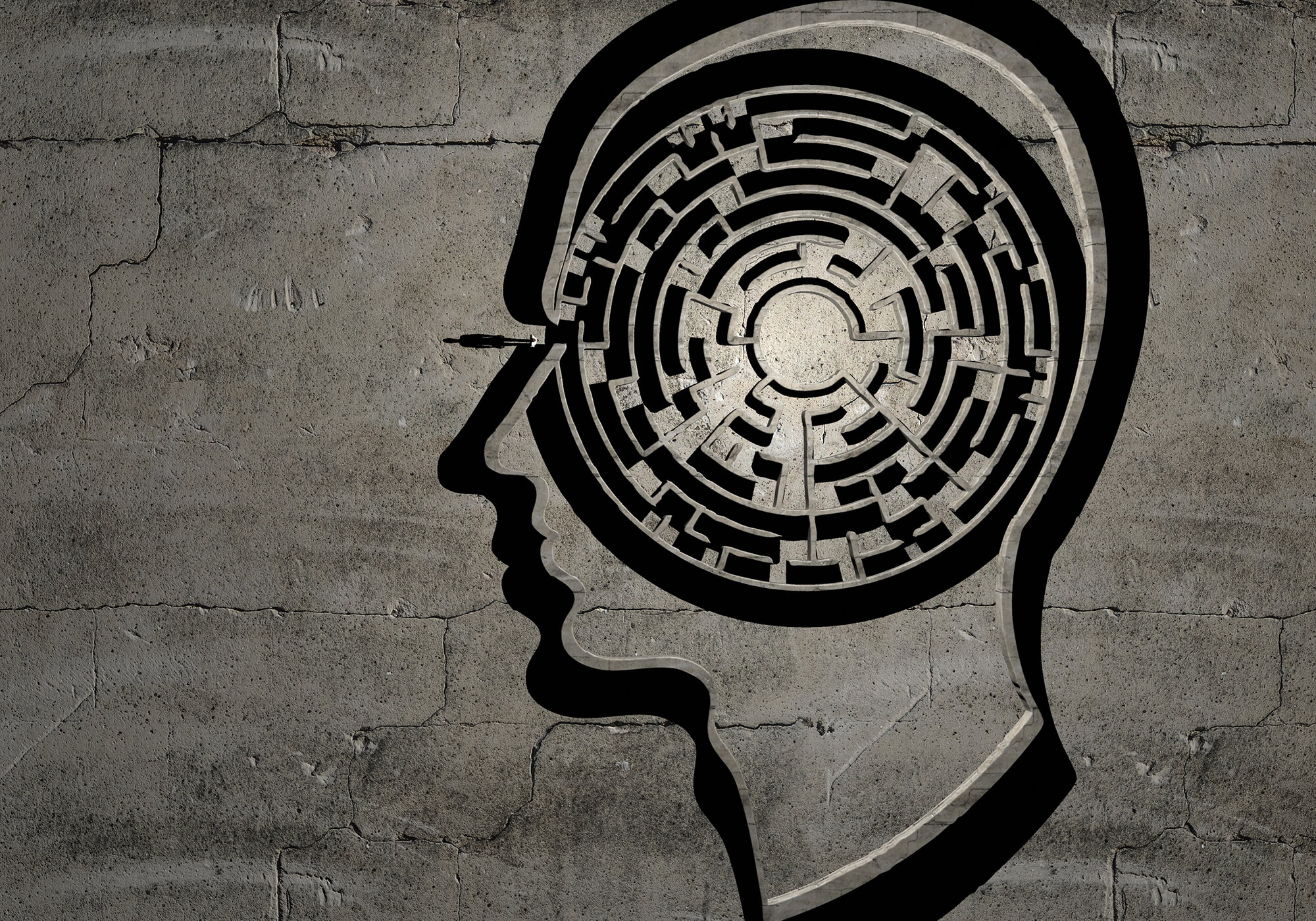 circular maze within outline of human head