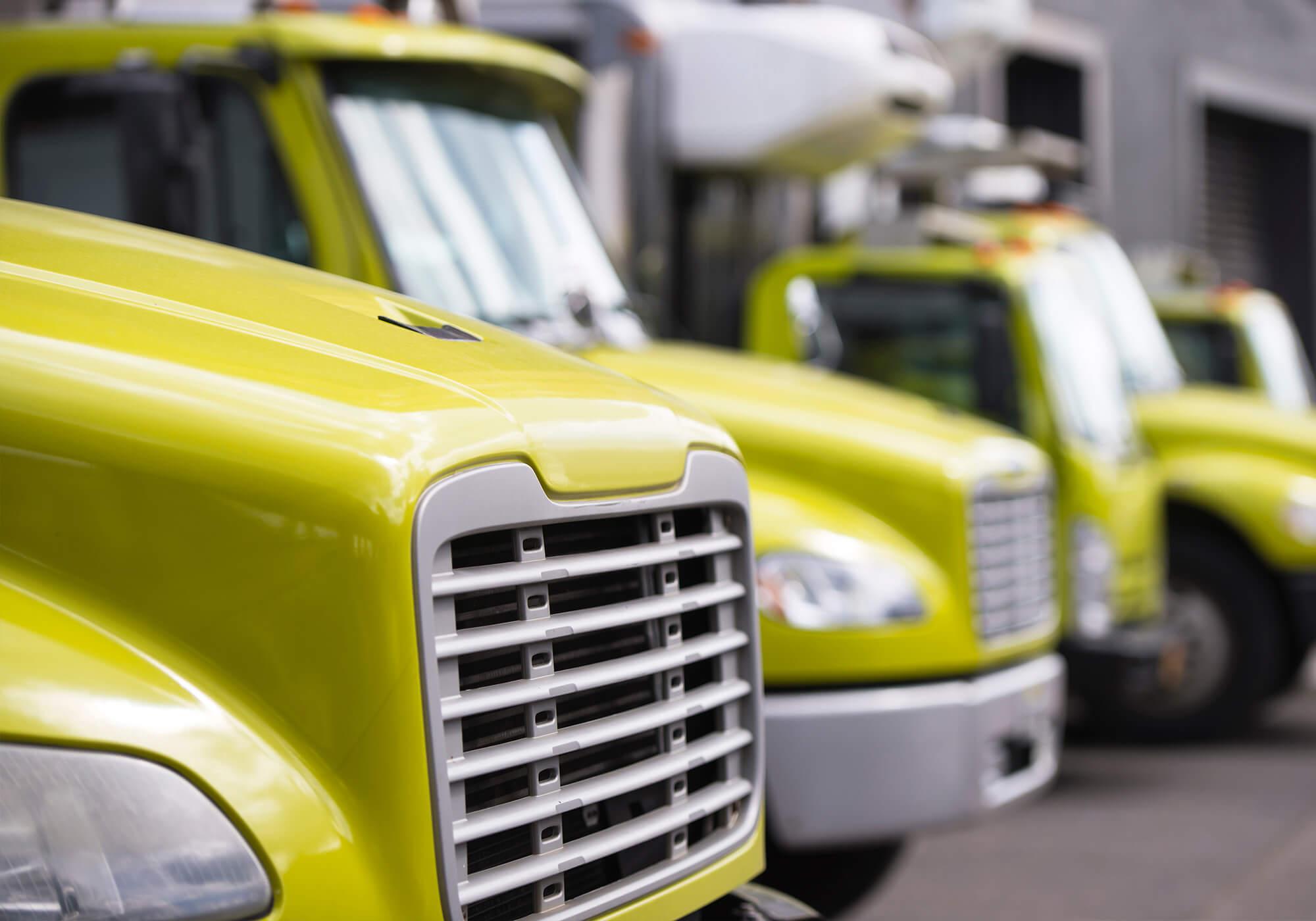 three yellow semi truck fleet