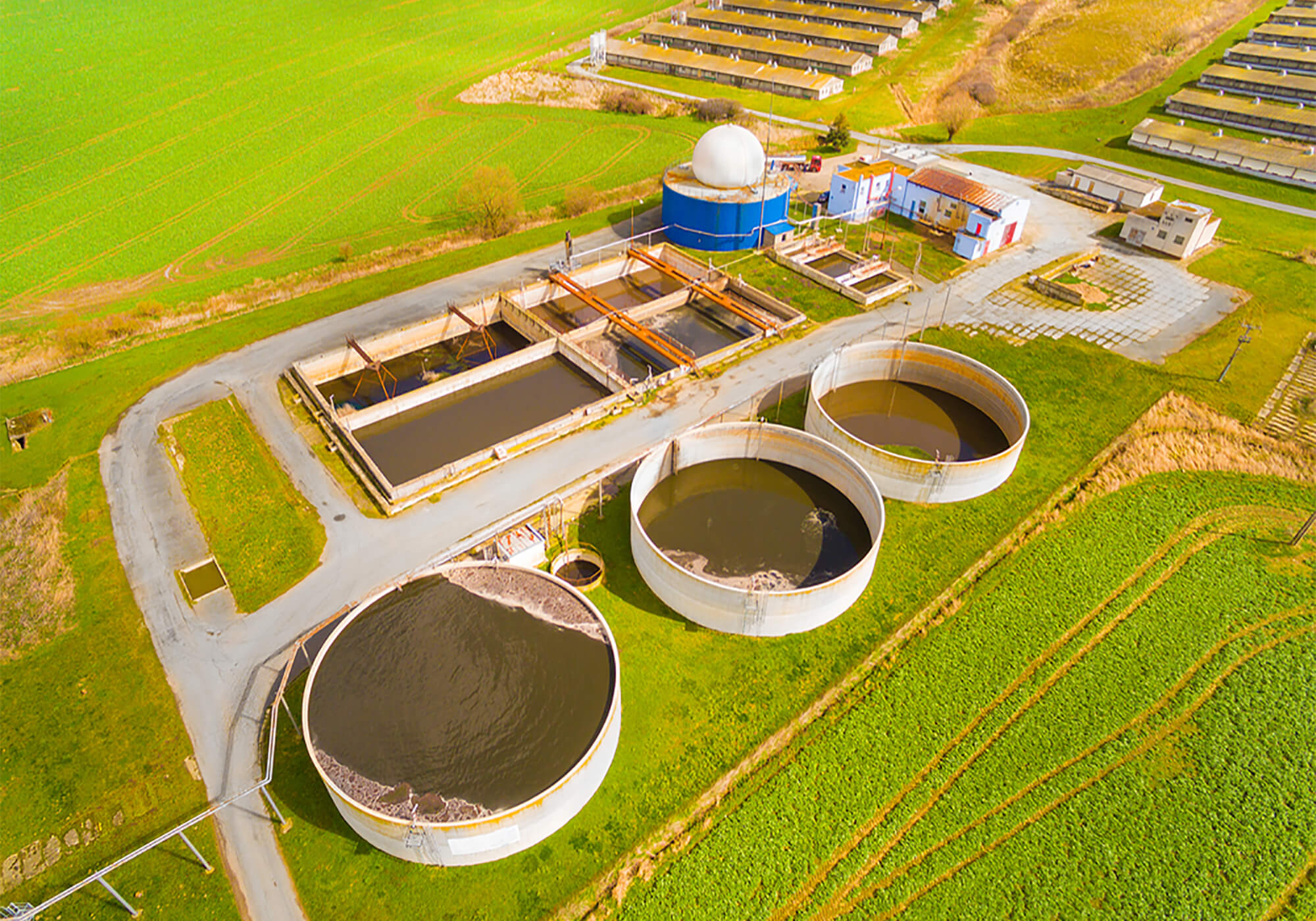 Aerial View of Water Plant