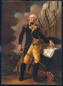 Portrait of George Washington by Denis A. Volozan which is on display in the Senate chambers of The Old State House.