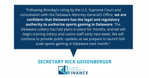 Sec. Geisenberger Statement on Implementing Full-Scale Sports Gaming