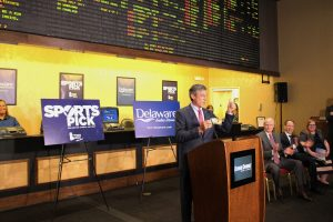 Photo of Governor Carney at Dover Downs for the SportsPick Launch