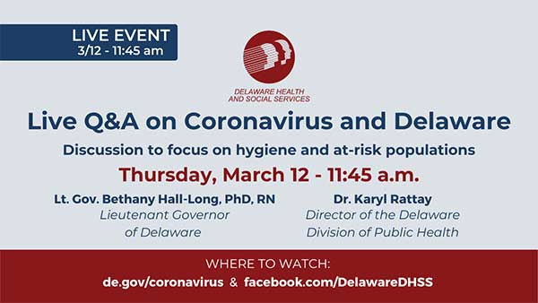March 12 Live Coronavirus Disease Q&A - State of Delaware News