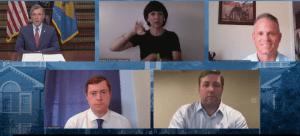 Governor Carney, Sign Language Interpreter, Trinidad Navarro, David Bentz, Bryan Townsend