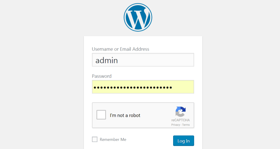 The WordPress login page.