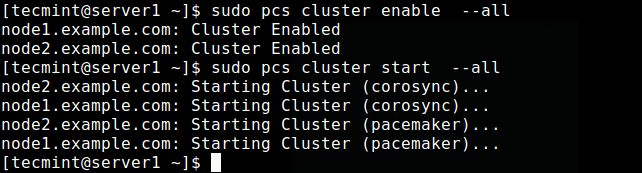 Enable and Start the Cluster