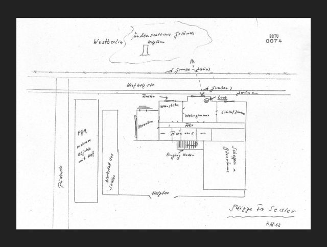 Sketch of the house and surrounding area involving the first (infiltrated) tunnel