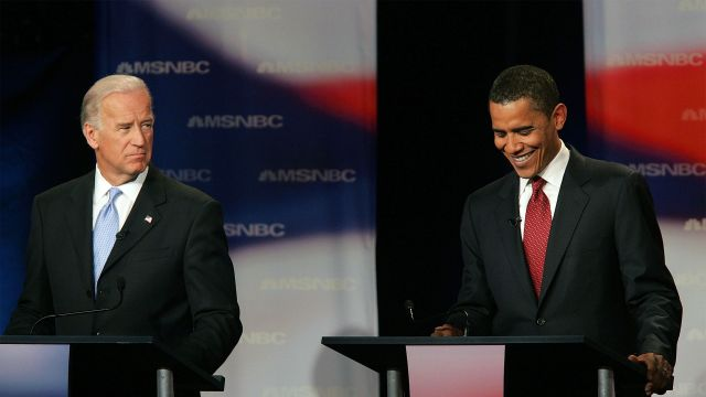 Joe Biden and Barack Obama at the presidential debate, 2007