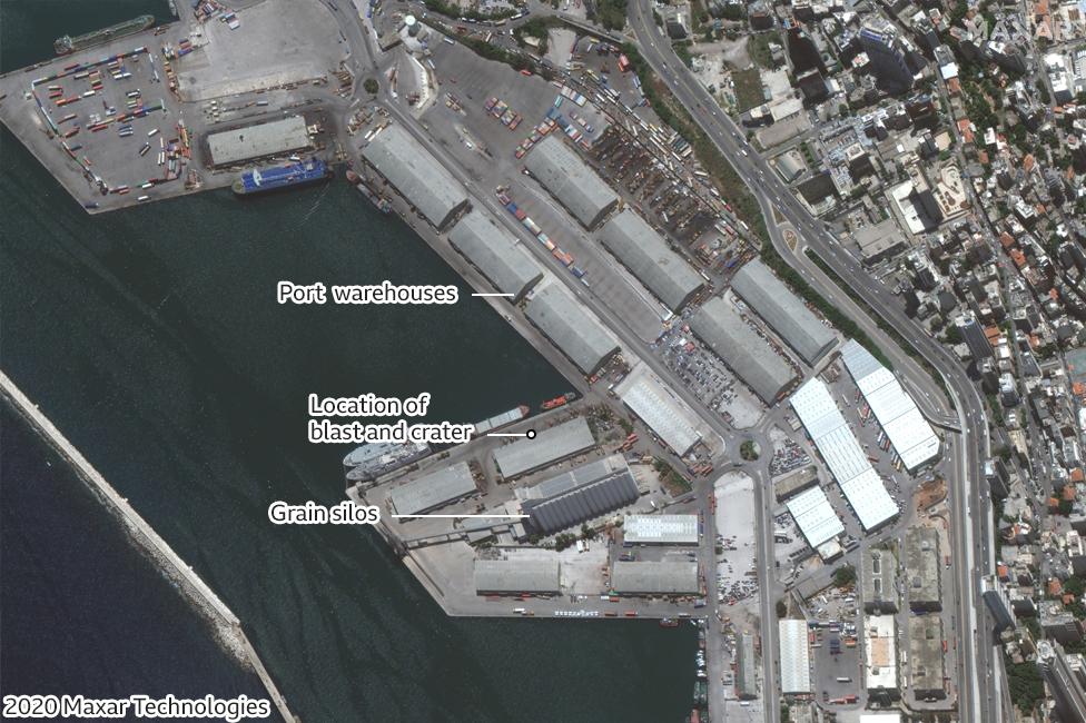 Satellite image of Beirut port area on 9 June 2020