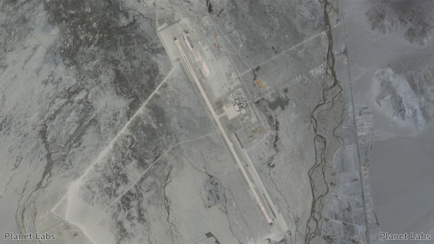 Satellite image of Ngari Kunsha Airport in China.  2 July 2020.