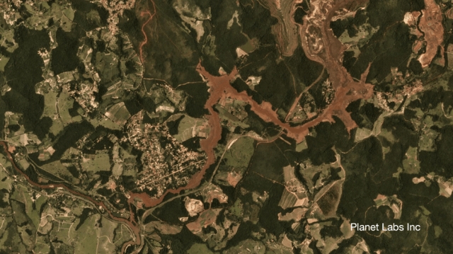 Satellite image of Brumadinho mine in Brazil 29 January 2019