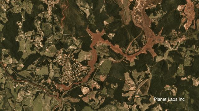 Satellite image of Brumadinho mine in Brazil 29 January 2019