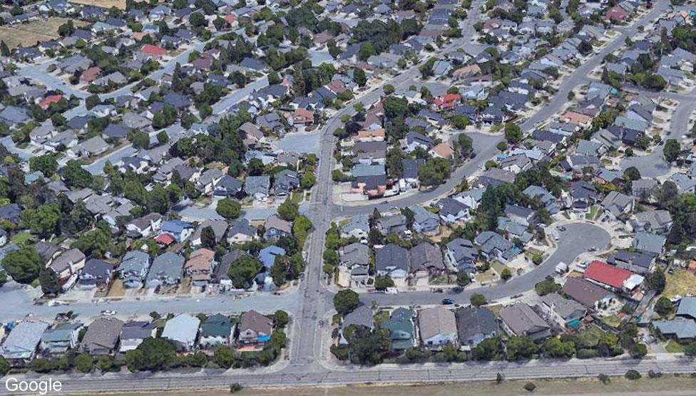 Google satellite image of Coffley Lane area of Santa Rosa earlier in 2017