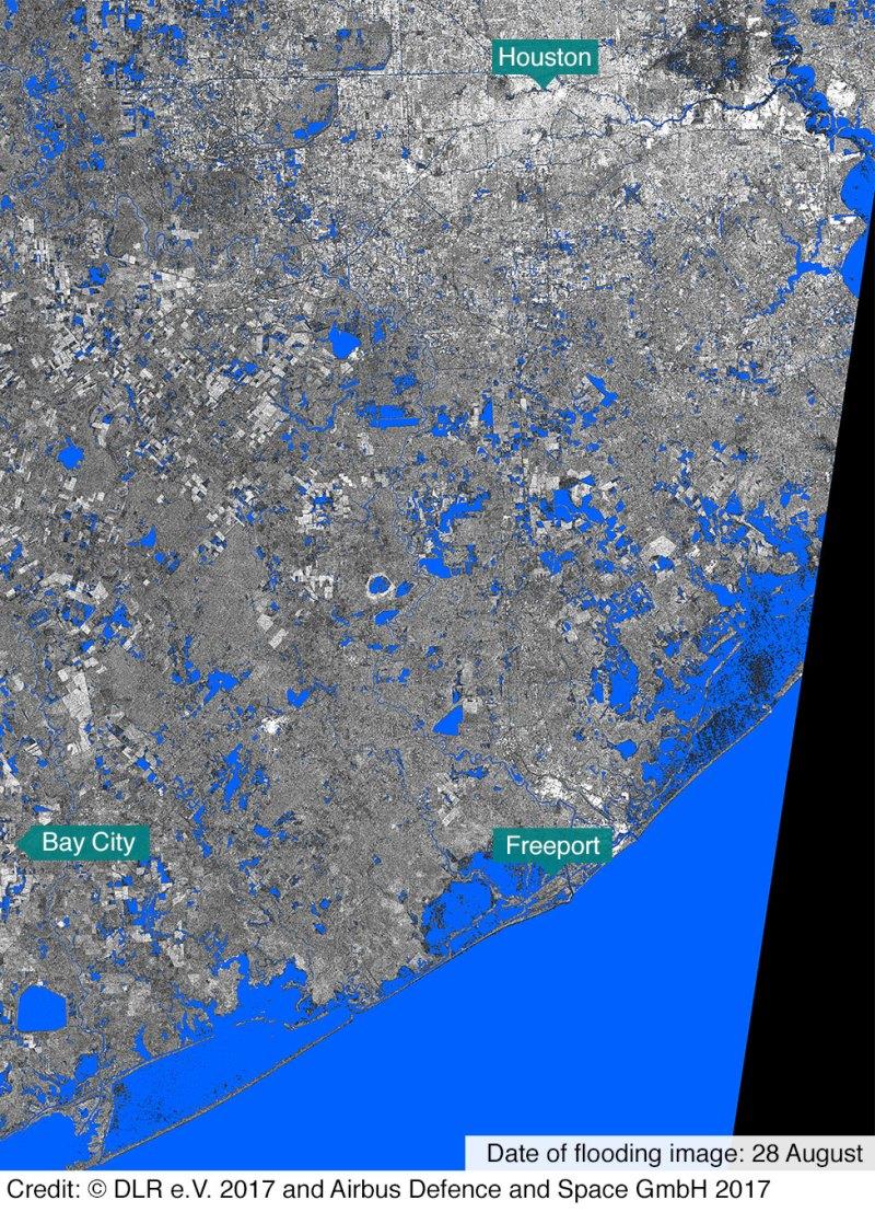 Satellite image of Texas coastline after Hurricane Harvey showing flooding