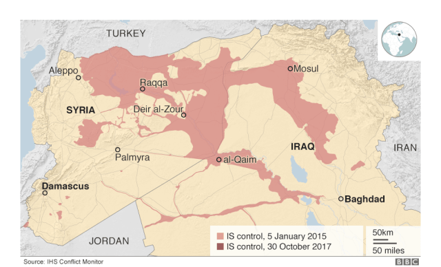 Area controlled by Islamic State group in January 2015
