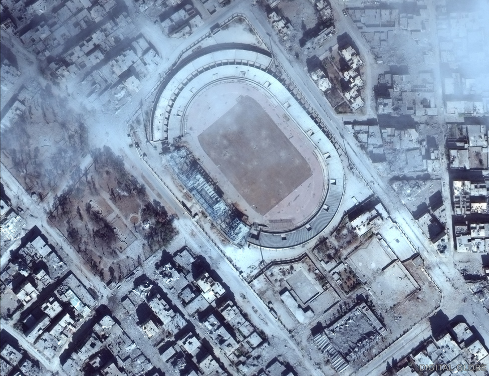The stadium pictured after IS were forced out of Raqqa, October 2017