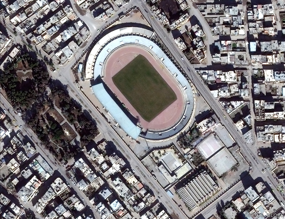 The sports stadium in central Raqqa in February 2014