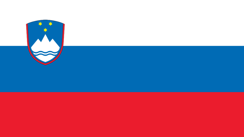 Slovenia's flag - top to bottom white, blue, and red, with a crest positioned left showing a white mountain crowned with three yellow stars
