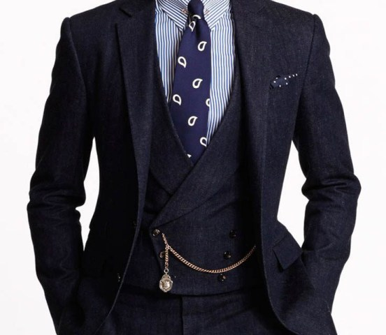 Ralph Lauren Purple Label three-piece denim suit, spring/summer 2015.