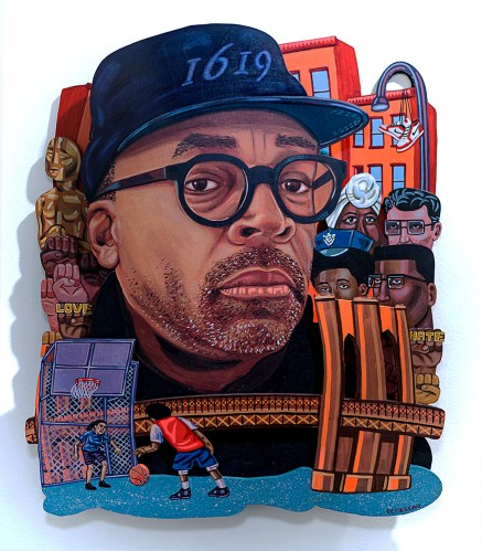 """Spike Lee,"" roughly 18 in. x 24 in., acrylic on wood."
