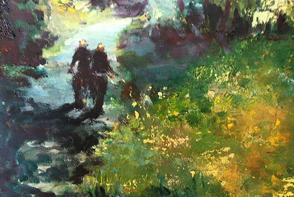 impressionist painting with two figures riding bikes down a wooded road