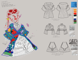 Fashion Illustrations of brightly colored garments