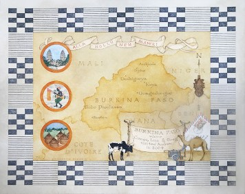 artwork by Connie Brown with map of Burkina Faso